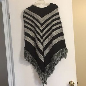 WORN ONCE! Black, gray, and white poncho